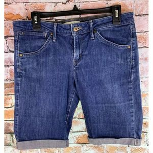 Bermuda Jean Shorts Md Wash Blue Cuffed Denim 10""